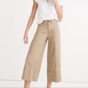 Madewell Langford Wide-Leg Crop Pants Light Latte